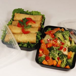 """Take-Out Container 12OZ Rectangle L7xW4.8xH1.5"""" Black w/Lid CuBE CR-811B 150CS"""