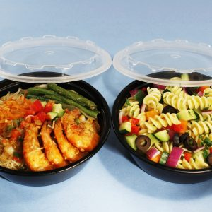 """Take-Out Container 24OZ Round D7xH2""""  Black w/Lid CuBE CO-624B 150CS"""
