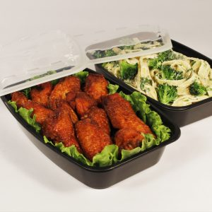 """Take-Out Container 28OZ Rectangle L8.27 x 5.8 x 1.62"""" Black w/Lid CuBE CR-928B 150CS"""