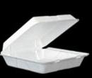 "Take-Out Hinged 1 Comp Foam 9x9"" White 200CS"
